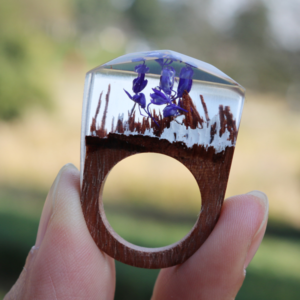 Purple Flower Wood Ring - Florence Scovel - 1