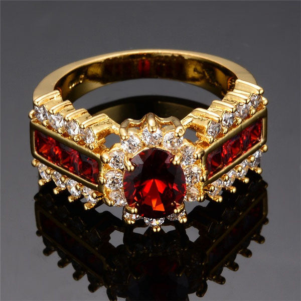 Gold Plated Crimson Garnet Ring