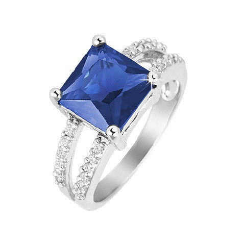 Sapphire Princes Cut Ring w/ Split Pave CZ Stones Rhodium Over Brass - Florence Scovel