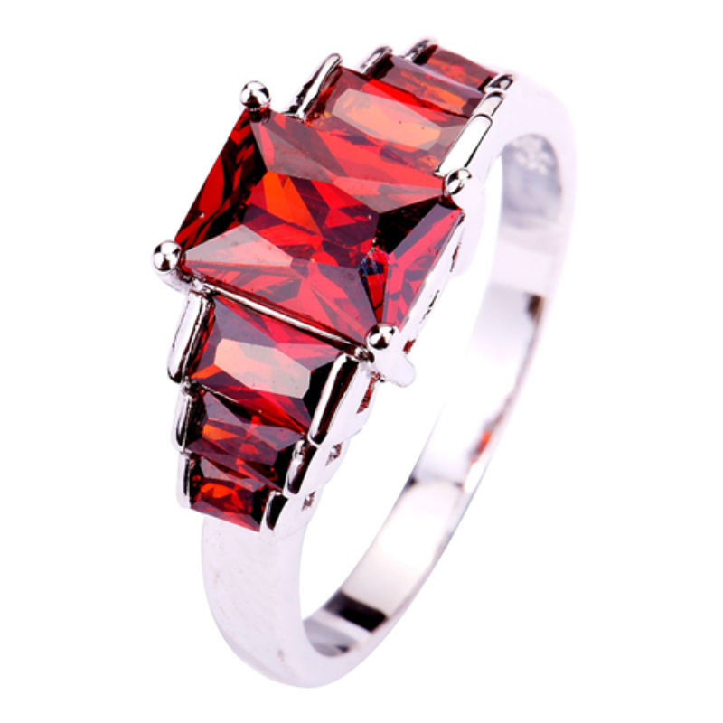 Cubic Red Garnet Ring - Florence Scovel