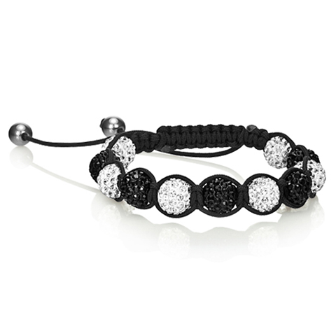 White & Black Crystal Balla Style Adjustable Bracelet - Florence Scovel