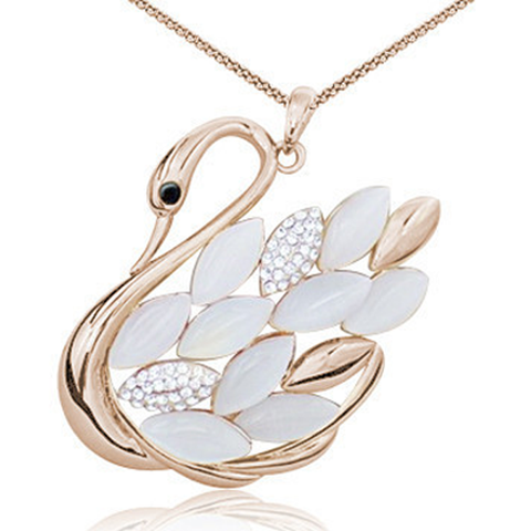 Rose Gold Overlay Crystal Beaded Swan Pendant - Florence Scovel