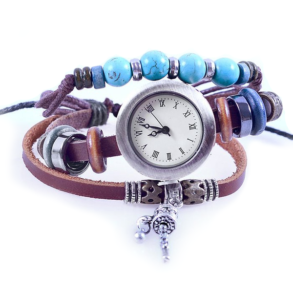 Turquoise Beads Leather Watch - Florence Scovel - 1