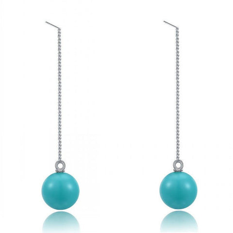 Turquoise Ball Drop Earrings - Florence Scovel - 1