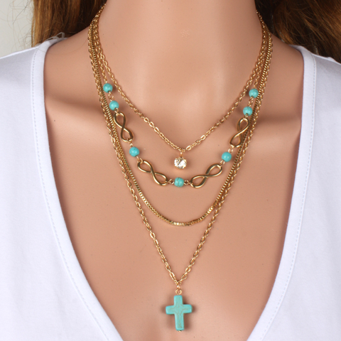 Turquoise Cross Chic Necklace - Florence Scovel - 1