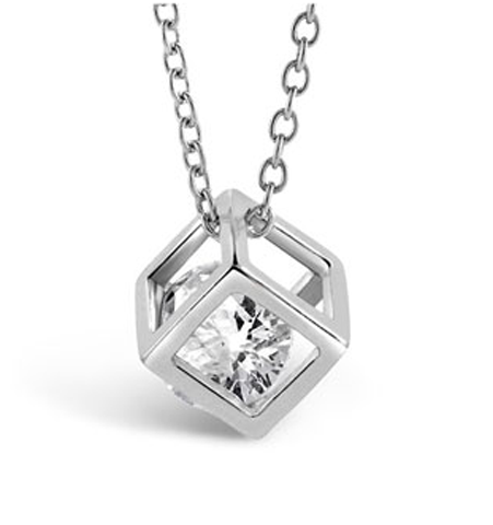 Cube Necklace - White Gold - Florence Scovel