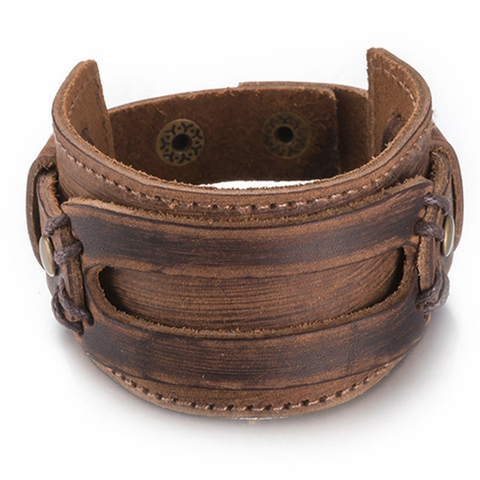 Leather Wide Cuff Bracelet