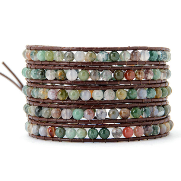 4MM  India Agate Stone Wrap Bracelet - Florence Scovel - 1