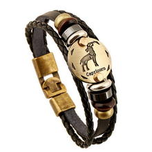 Zodiac Signs Black Gallstone Leather Bracelet - Florence Scovel - 11