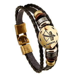 Zodiac Signs Black Gallstone Leather Bracelet - Florence Scovel - 2