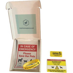 The Pet Parent Alert Kit includes a Pet Emergency Card for your wallet, an emergency alert keyring tag, a silicone alert bracelet and a Pet rescue window sticker.  For a limited time, we're including a silicone message alert dog tag for free.
