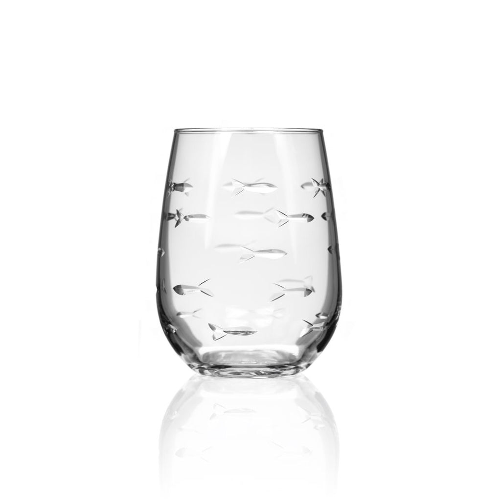 Stemless wine Etched Fish glasses