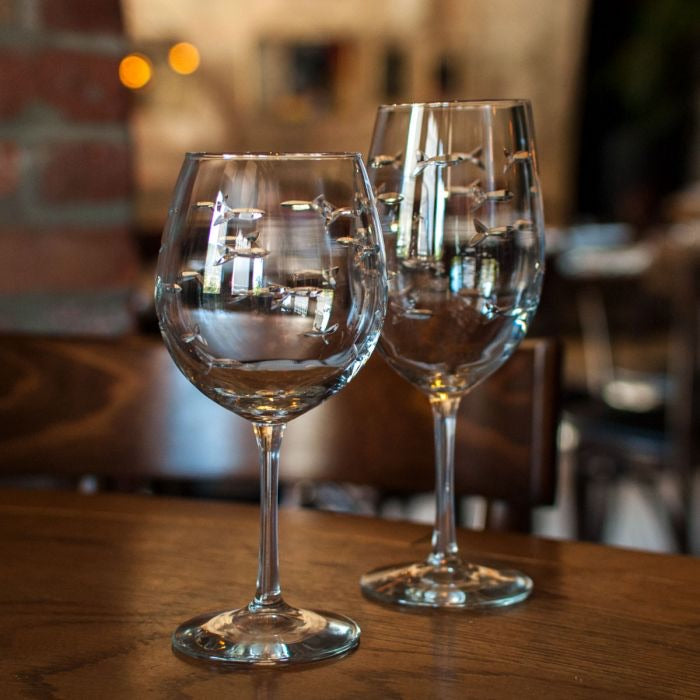 All Purpose Etched Fish wine Glasses