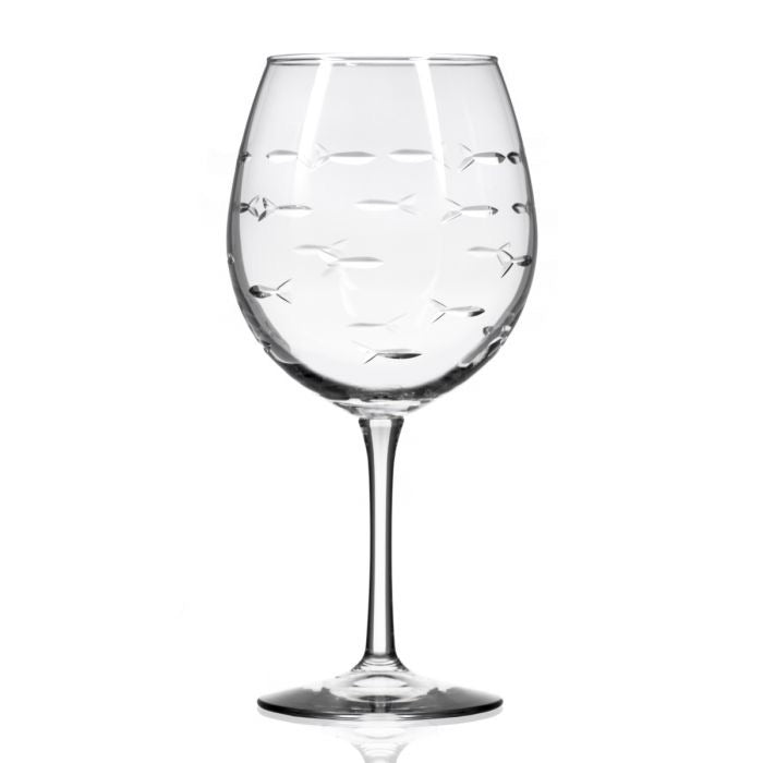Balloon Wine Etched Fish glasses