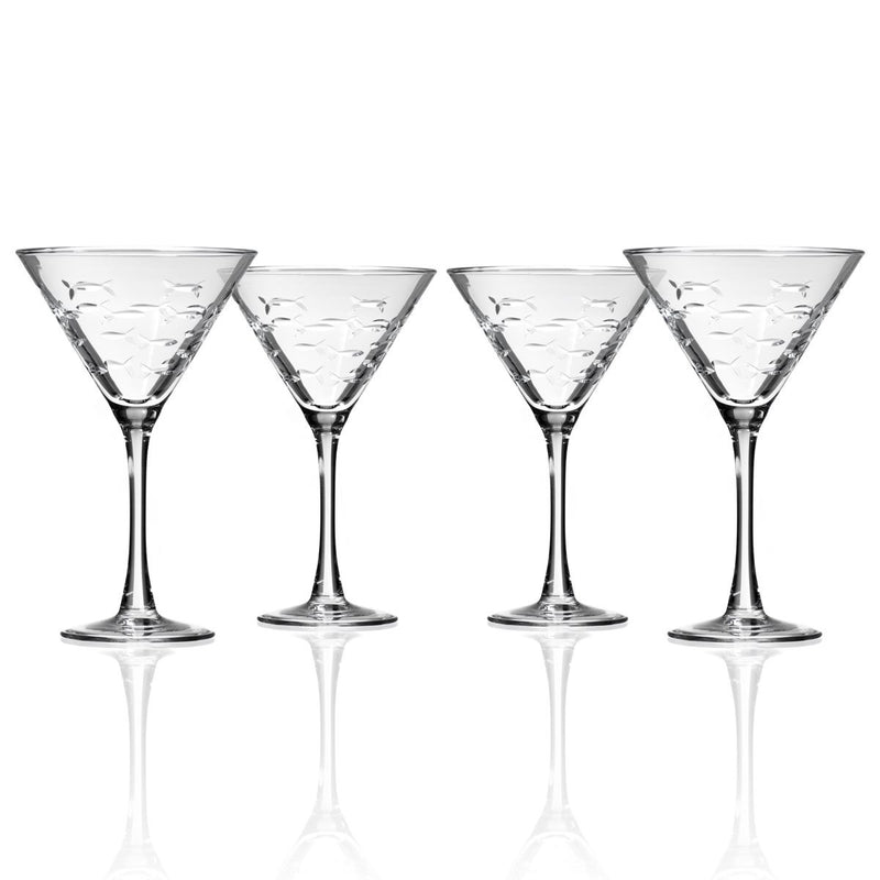 Martini Etched Fish Glasses