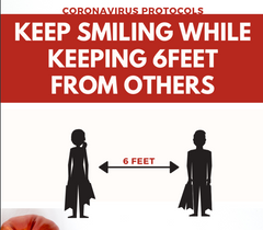 "safety graphic saying ""keep smiling while keeping 6feet from others"""