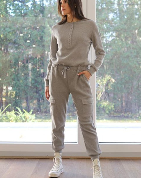 Piper Grey Knit Jumpsuit