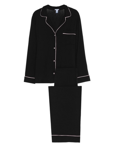 Classic black pajama with white trim.