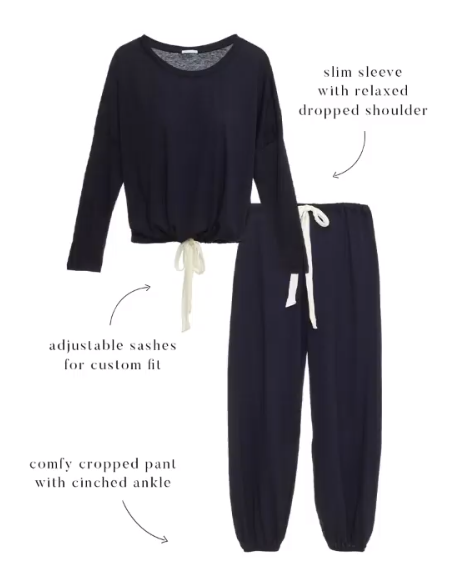 Navy Heather Slouch Set