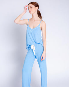 Tropical Modal Blue Cami and Pant Set