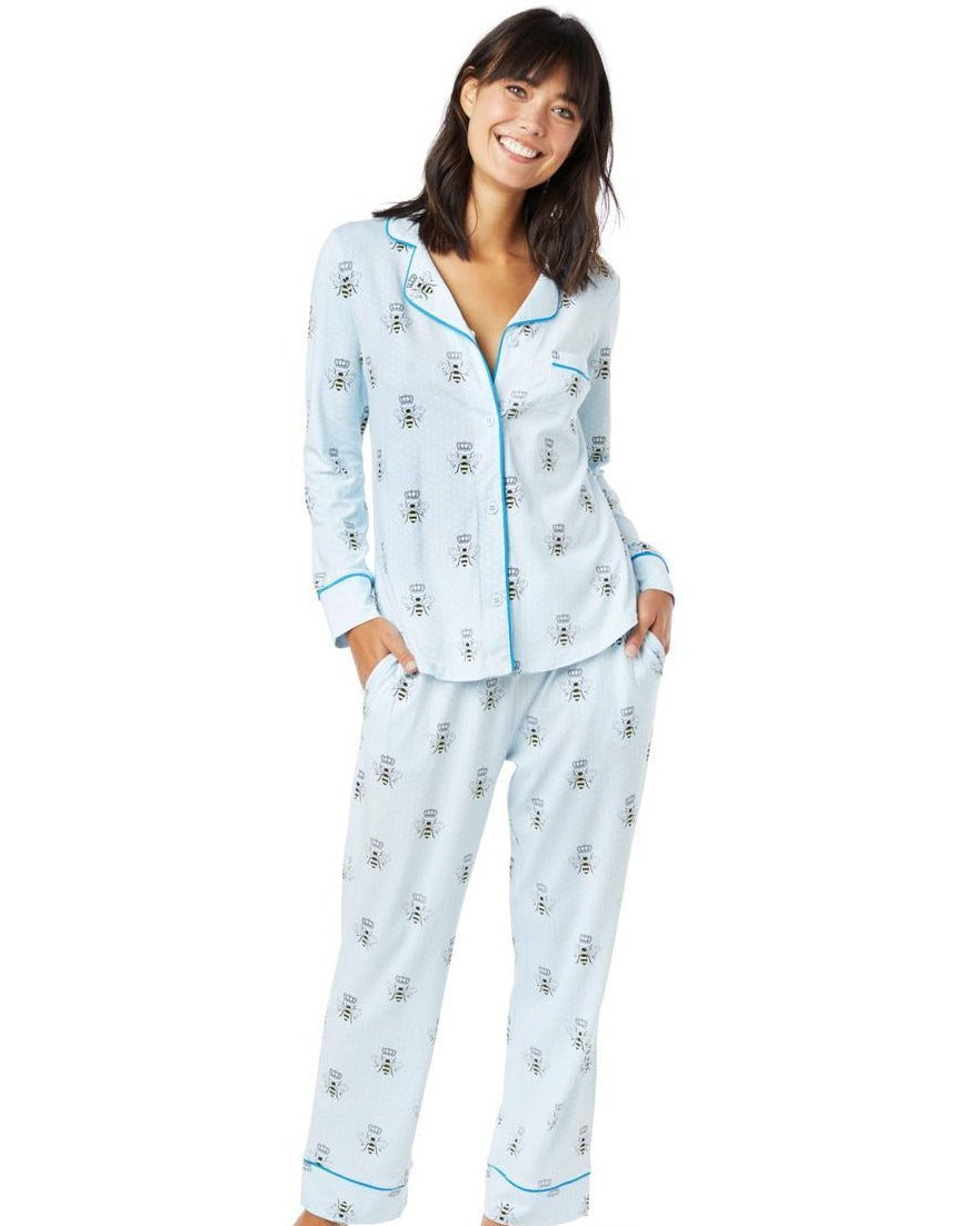 Queen Bee PJ - Blue Pima Knit