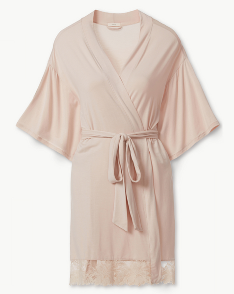 pink modal mid-thigh length robe kimono with lace on bottom hem