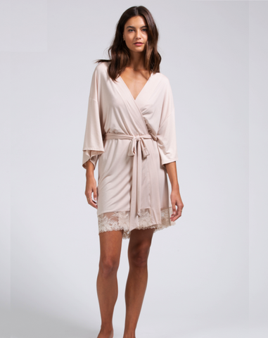 pink modal mid-thigh length robe kimono robe with lace on hem