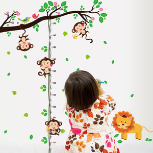 Jungle Animals Height Measure Wall Stickers - Mamma & Child