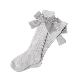 Baby Girls Knitted Knee High Bowknot Cotton Socks - Mamma & Child