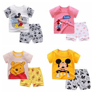 Infant Summer Baby Boys Clothing Suit Toddler Baby Newborn Girls Clothes Cartoon Printing Casual Outfits Boys Clothing - Mamma & Child