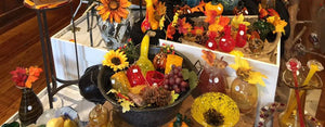 Fall collection, glass pumpkins, glass ghourds