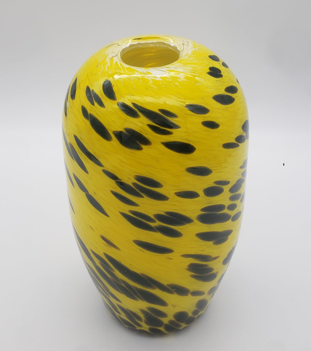 Canary Yellow and Adventurine Green Beehive Vase