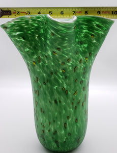 Green Vase Yellow spots and White Interior (Large Vase)