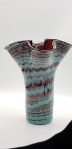 Draped Brown and Turqouise Vase