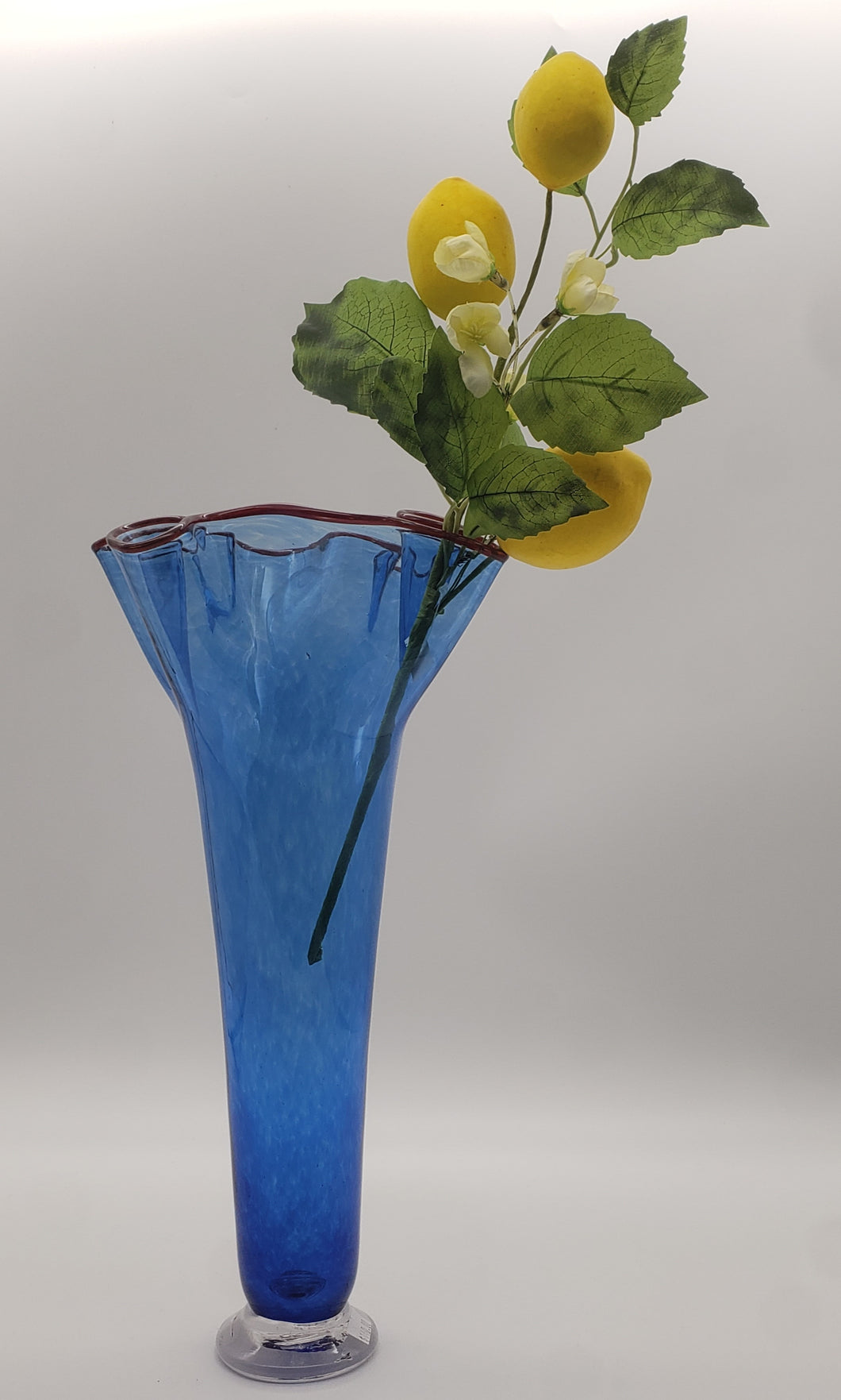Footed Drape Vase Blue with Red Lip Wrap