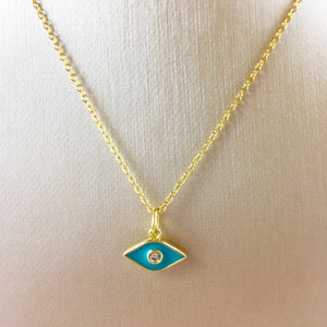 Tiny Teal Evil Eye Pendant