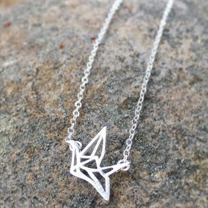 Steling Silver Crane Necklace