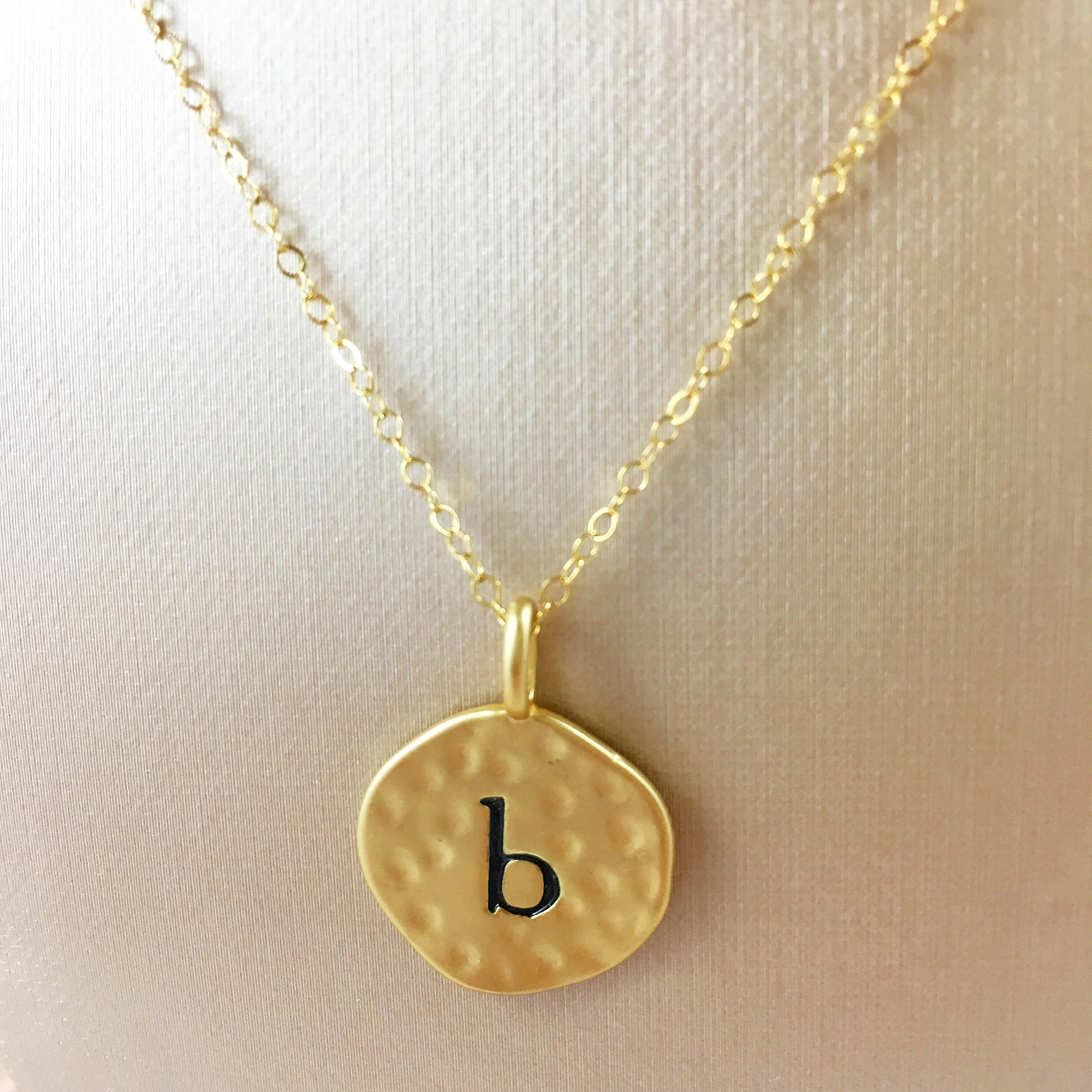 """B"" Gold Coin Pendant"
