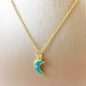 Tiny Blue Moon/Evil Eye Pendant