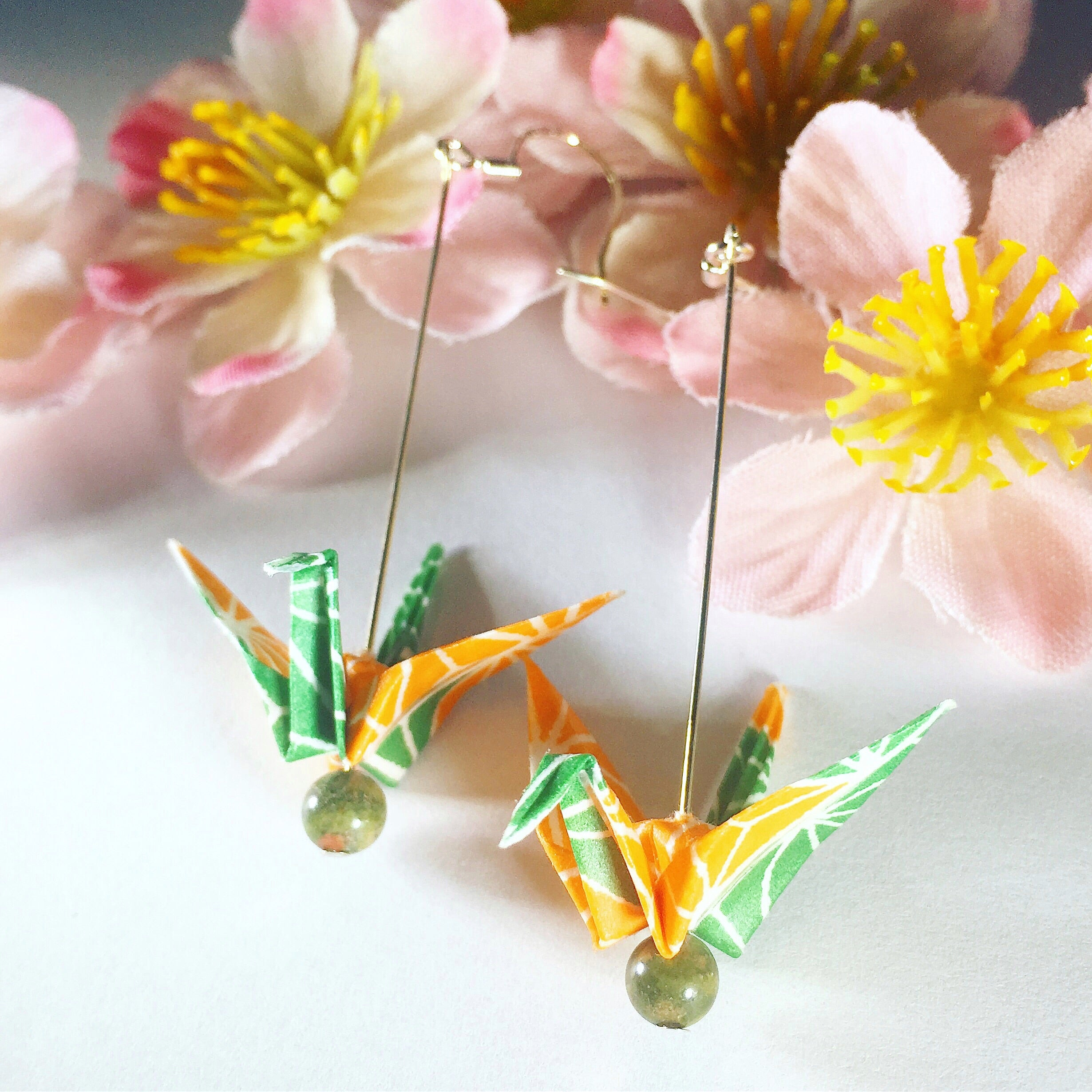Tiny Origami Crane Earrings