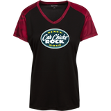 Car Chicks Rock Center Chest Logo and Full Back LST371 Ladies' CamoHex Colorblock T-Shirt