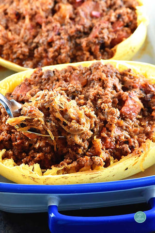 Spaghetti Squash Stuffed with Hearty Meat Sauce