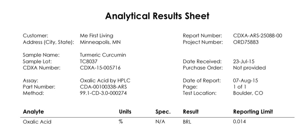 oxalic test report
