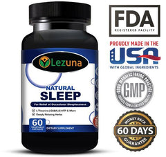 Lezuna All Natural Sleep Aid Supplement with Melatonin, GABA, Magnesium, L-Theanin, 5-HTP and More. Non-Habit Forming, Wake Refreshed Sleep Aid - 60 Capsules