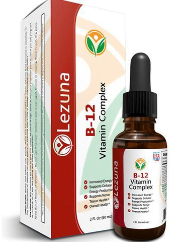 Lezuna Liquid B12 Vitamin Supplement, Larger 2 oz Bottle, Supports Energy, Boost Metabolism, Heart Health, Skin Health and More