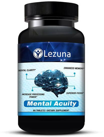 Lezuna Mental Acuity Nootropic Brain Supplement with Bacopa Monnieri, Choline Bitartrate, DMAE, DHA Concentrate and more. Increase Focus, Improve Processing Speed, Enhance Clarity, Reduce Brain Fog - 60 Capsules