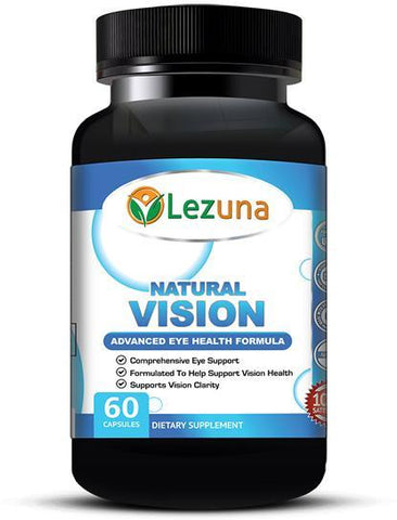 Lezuna Natural Vision Eye Health with Lutein, Vitamin A, Zinc, Bilberry Fruit Extract, and more. Support Vision, Eye Health and More  - 60 Capsules