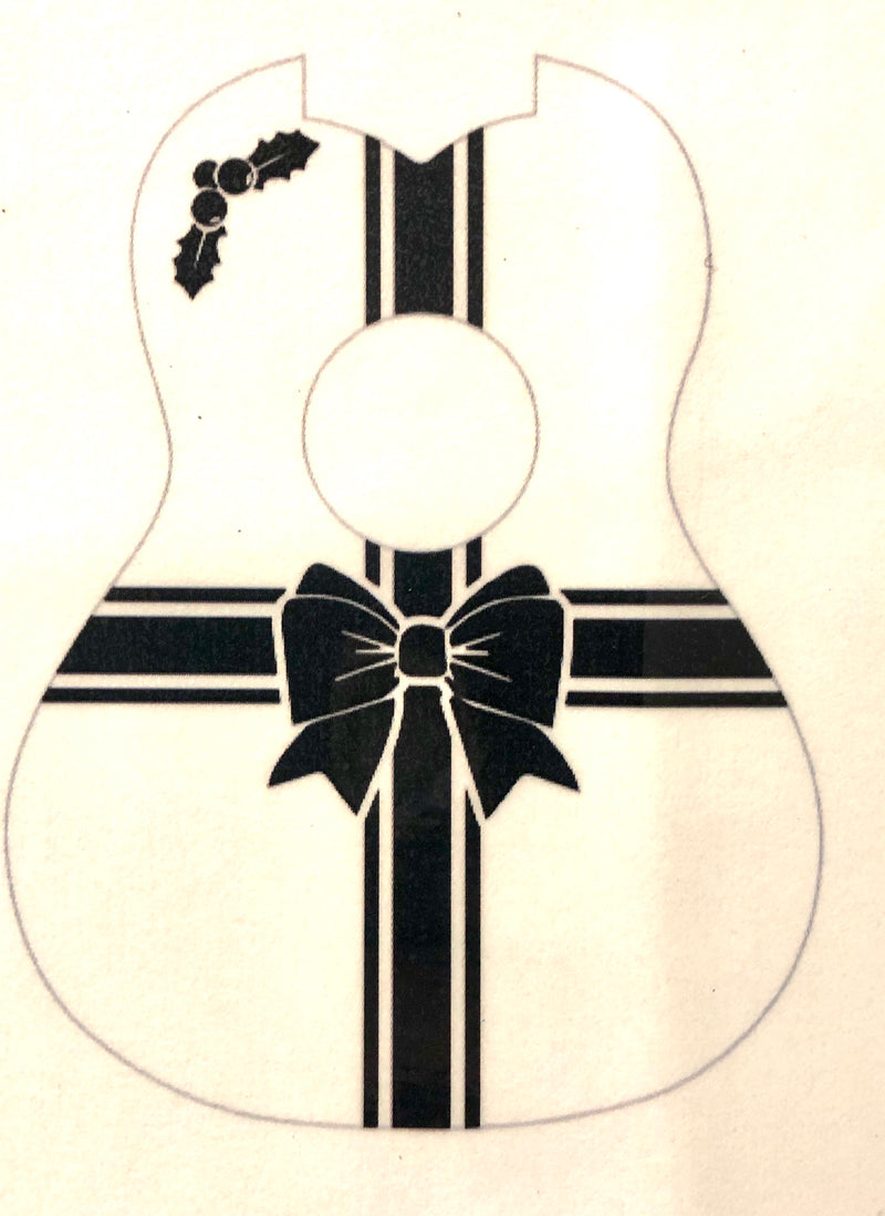 Holiday Gift Wrap Ribbon Ukulele Stencil