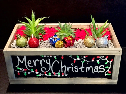 DIY Holiday Chalkboard Planter