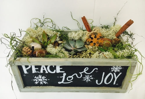 DIY Peace Love Joy Chalkboard Planter-google event